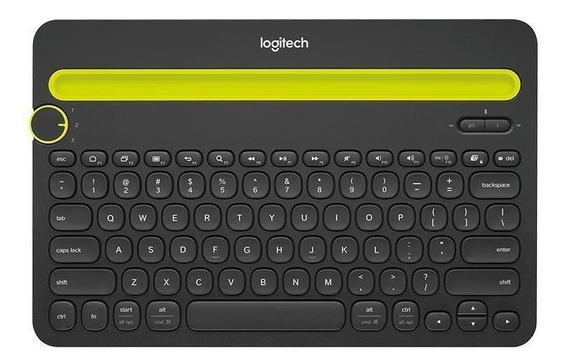 Teclado bluetooth Logitech K480 QWERTY inglês US de cor preto