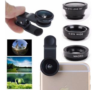 Kit 3 Lentes Olho De Peixe Wide Macro Universal Para Smartphone Android Ios Celular Panorâmica 3 Em 1 Promoção