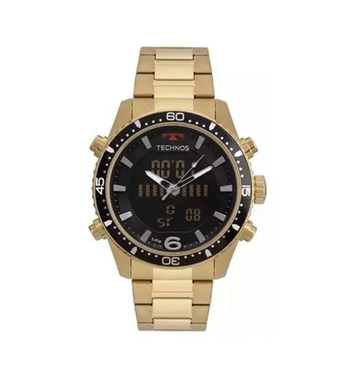 Relógio Masculino Technos Dourado Com Preto Digital E Analógico Ref - Bjk203aad/4p