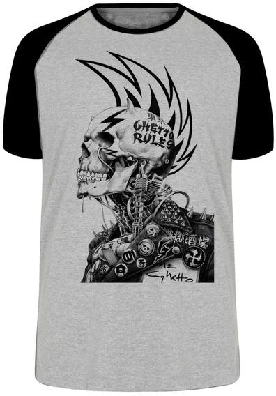 Camiseta Luxo Caveira Guetto Rules Regras Punk Rock Roqueiro
