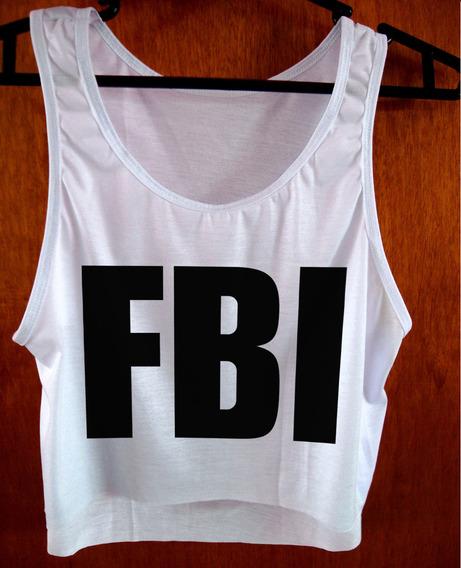 Blusa Cropped Fbi Feminina Policia Regata Camiseta Cod01