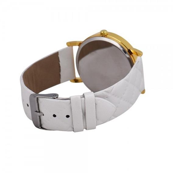 Relógio Feminino Geneva E Pulseira De Couro Trançado Branco