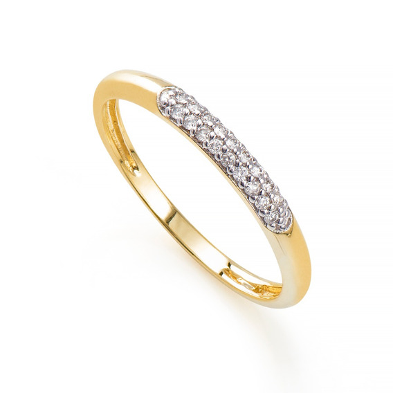 Anel De Ouro 18k Aparador Rodinado Com Diamantes An36514