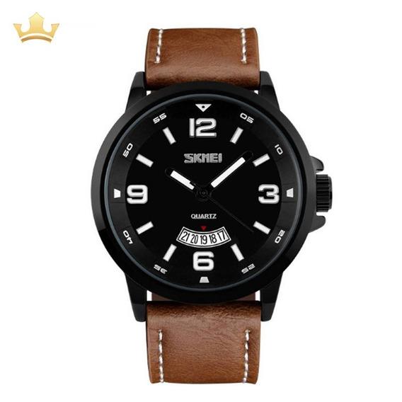 Relógio Masculino Skmei Analógico 9115 - Marrom Com Nf