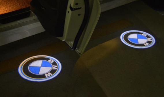 4 Emblemas Luz Cortesia Led Porta Logo Bmw + Serra-copo