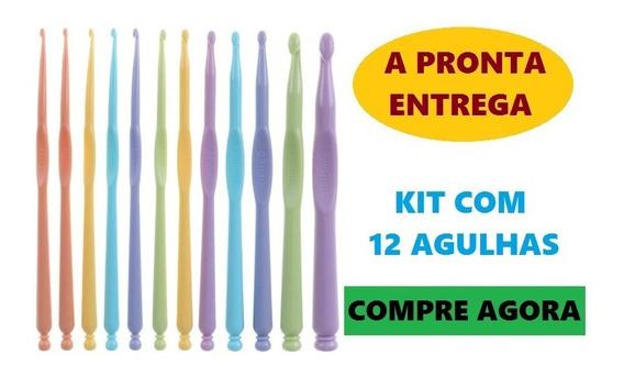 Kit 12 Agulhas Candy Crochê Fio De Malha Barbante Promoção