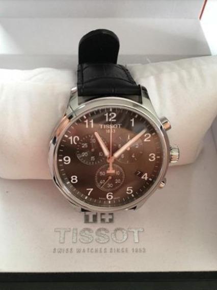 Relógio Tissot Chrono Xl Preto Couro Original Novo