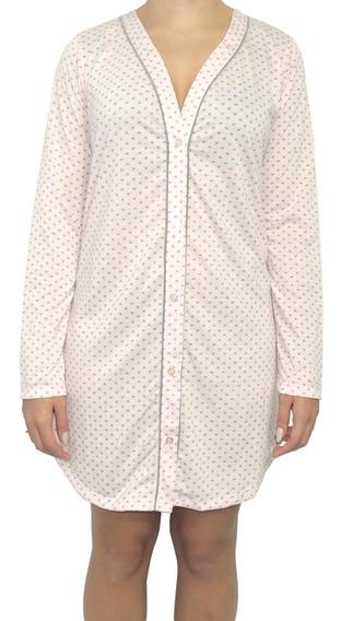Pijama Camisa / Camisola Feminina Em Malha Estampada Pv