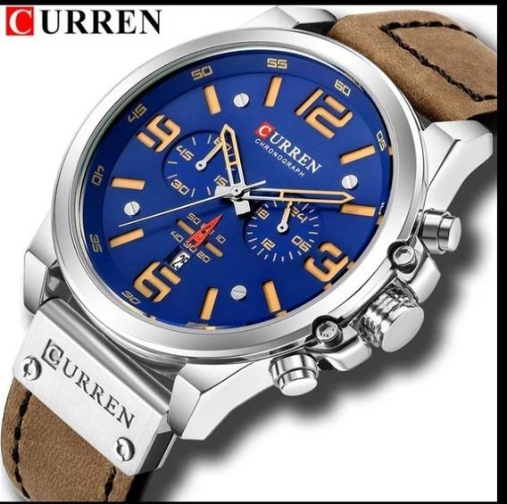 Relógio Original Curren Militar Funcional Couro Oferta C.124