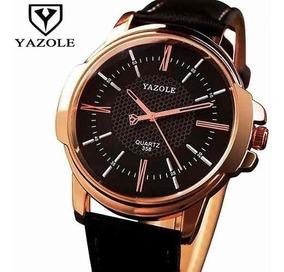 Relógio Original Yazole Dourado Pulseira Couro Modelo 358