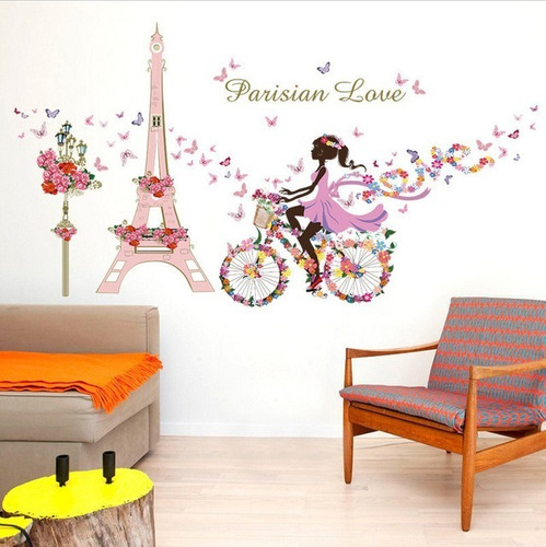 Vinilo Decor Sticker Pared - Paris Love Rosa Bici Hada Flor