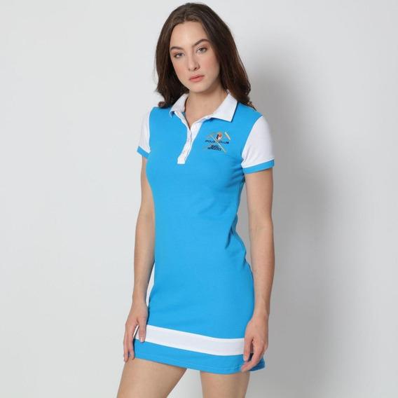 Vestido Azul Claro C/ Detalles Color Blanco