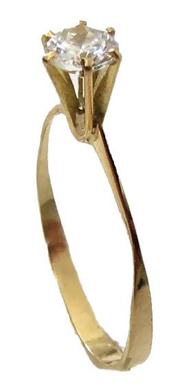 1490 Anel Solitário Ouro 18k Com Zirconia