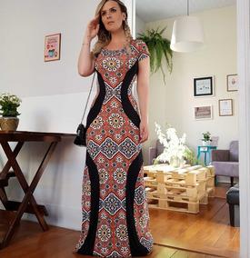 Vestido Festa Modelador Estampado Visco Longo Madrinha 2791