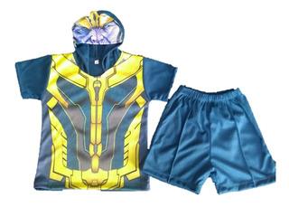 Playera Y Short Thanos Avenger Con Mascara Talla 10 Años