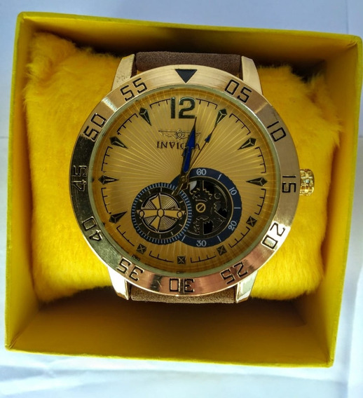 Relógio Luxo Masculino Prata Pulso Social Pulseira Couro