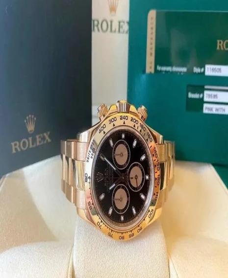 Rolex Daytona Todo Em Ouro Fundo Preto Completíssimo!