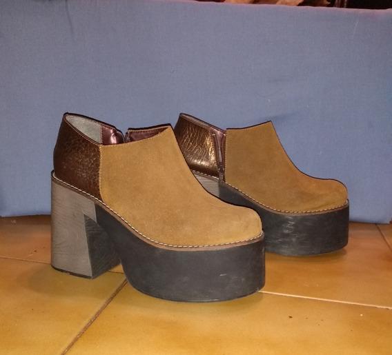 Botas Zapatos Heyas Gamuza Y Cuero Con Cierre Talle 39 Mujer