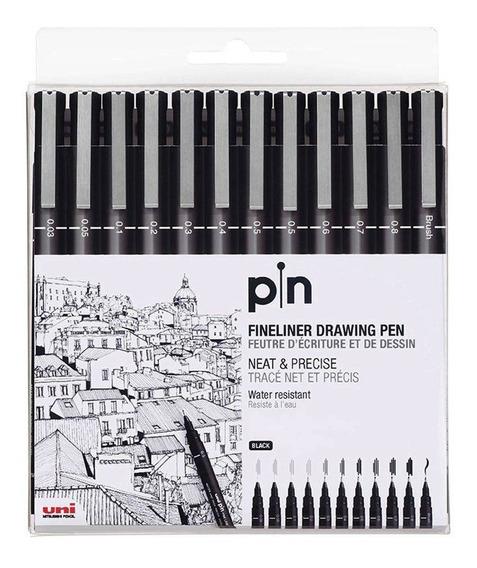 Uni Pin Fine Line Caneta Nanquim Estojo Com 12 Pontas Oferta
