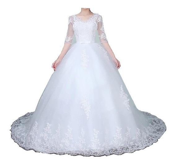 Vestido De Noiva Nb36 Barato Cauda Renda Manga 3/4 Saiote