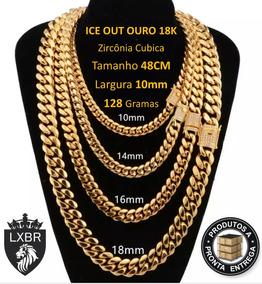 Colar 48cm 10mm Ouro 18k Cravejada Zirconi Hip Hop Lxbr Bl21