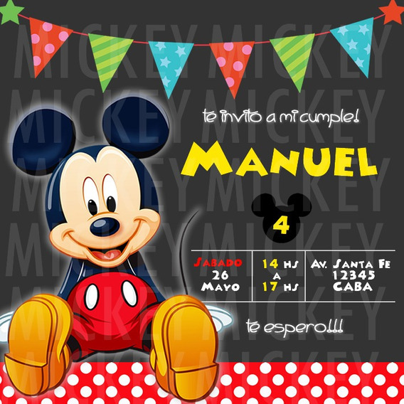 Tarjetas De Cumpleanos Mickey Mouse Souvenirs Para