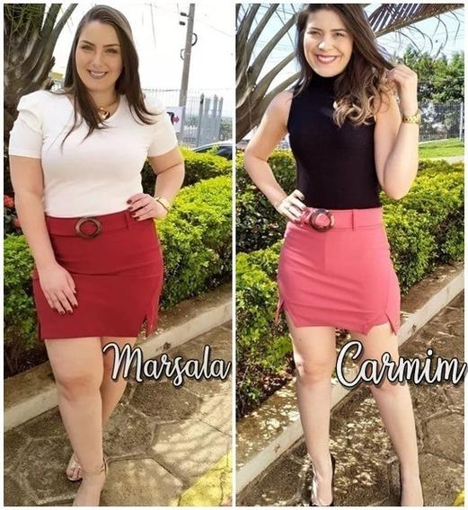 Saia Com Shorts Por Dentro Não Marca (tem Cinto) Em Poliamida Com Elastano Carmim G Veste 44 E Marsala Gg Veste 46