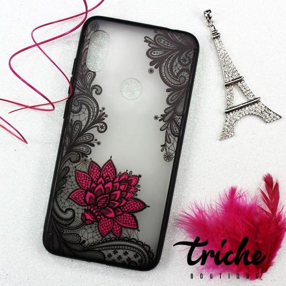 Funda Encaje Negro Flor Rosa Mandala Xiaomi Redmi Note 6 Pro