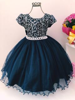 Vestido Azul Marinho Princesa Infantil Luxo Aniversário