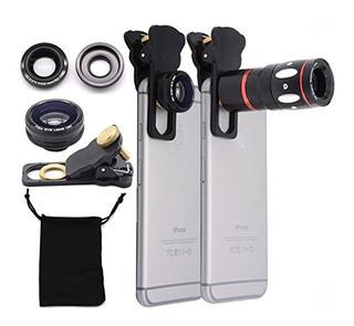 Kit Lentes 4in1 Telescópica Zoom 10x Fisheye Wide Universal