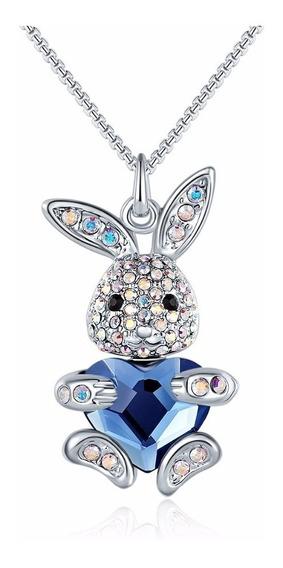 Swarovski Dije Conejo Ak Jewelry Corazón Azul
