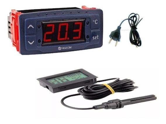 Termostato Digital Com Temporizador E Termohigrometro Medidor Umidade