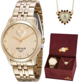 Kit Relógio Seculus Feminino 28823lpskda1k1 Com Colar