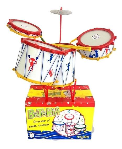 Bateria Musical Infantil 4 Tambores E 1 Prato Tabum