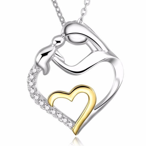 Colar Feminino Em Prata S925 E Ouro 18k C/ Pingente Coração