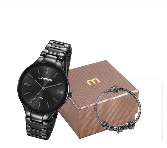 Relógio Mondaine Feminino Preto 53759lpmvpe2k1 + Kit + Nf