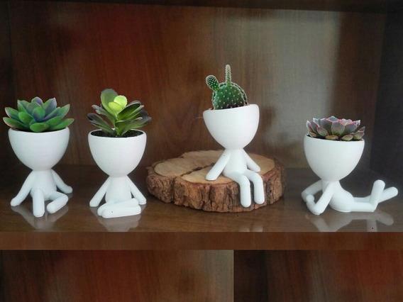 Vasos Robert Plant Suculentas. Pronta Entrega Kit C/4 Branco