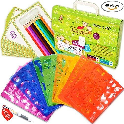 Set De Plantillas De Dibujo Para Niños (49 Piezas) - Kit De