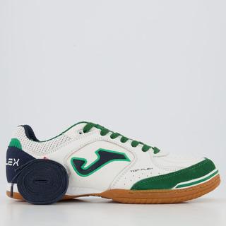 Chuteira Joma Top Flex Futsal Branca E Verde