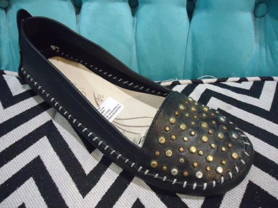Chatitas Ballerinas Zapatos Mujer Cuero Con Tachas Doradas