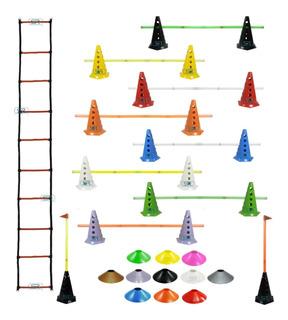Escada Funcional + 10 Cones Furados C/ Barreiras + 10 Pratos