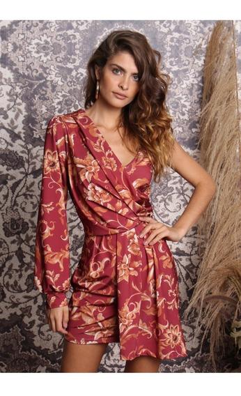 Vestido Curto Jersey Arabesco Floral
