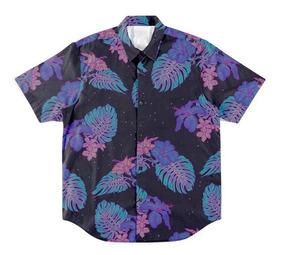 Kit 2 Pcs Bermuda + Camisa Botão Neon Floral Flores Tropical