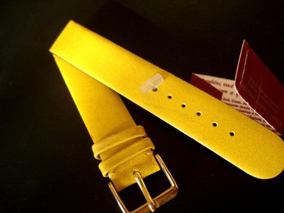 Pulseira Relogio Pulso 18 Mm Chainon Sem Costura Amarela