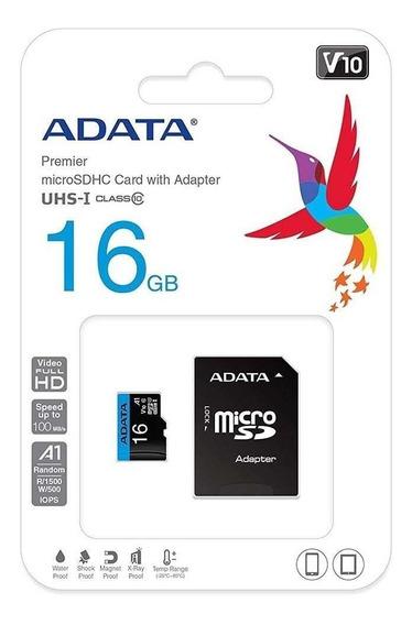 Cartão De Memória Adata Microsdhc 16gb Classe 10 + Adaptador
