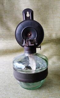 Antigua Lampara De Aceite De Vidrio Con Mechero