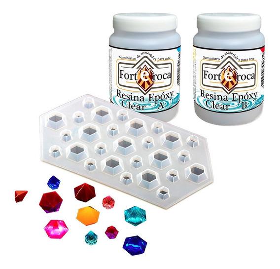 Resina Epoxy-clear + Molde Flexible Para Diamantes Kit01