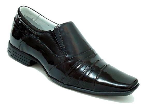 Sapato Social Masculino Couro100% Verniz Franca Dhl Calçados