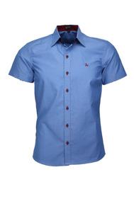 Camisa Lazio Manga Curta Slim - Azul Médio - Ref 1549