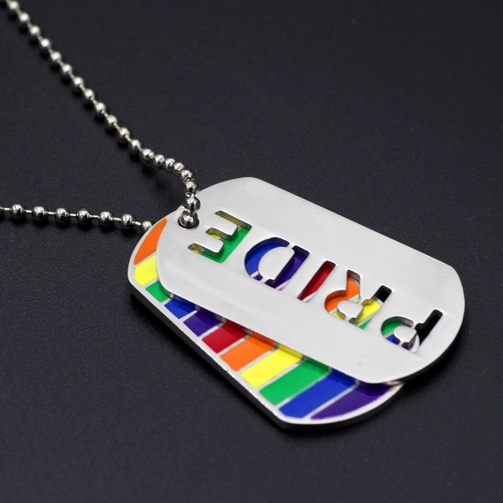Collar Gay Pride Doble Dog Tag Arcoiris Acero